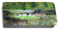 Portable Battery Charger featuring the painting Taughannock Vista Ithaca New York by Melly Terpening