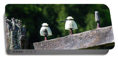 Portable Battery Charger featuring the photograph Telephone Pole And Insulators by Sherman Perry