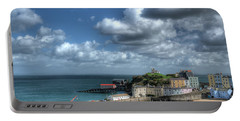 Portable Battery Charger featuring the photograph Tenby Harbour Pembrokeshire 3 by Steve Purnell