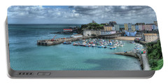 Portable Battery Charger featuring the photograph Tenby Harbour Pembrokeshire 4 by Steve Purnell