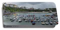 Portable Battery Charger featuring the photograph Tenby Panorama by Steve Purnell