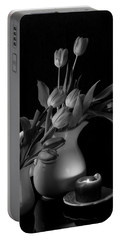 Portable Battery Charger featuring the photograph The Beauty Of Tulips In Black And White by Sherry Hallemeier