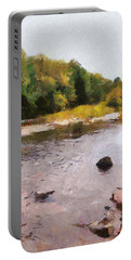 Portable Battery Charger featuring the painting The Face In The Creek by Mario Carini