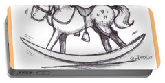 Portable Battery Charger featuring the drawing the Perfect Horse by George Pedro