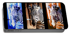 Portable Battery Charger featuring the photograph The Three Zebras Black Borders by Rebecca Margraf