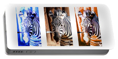 Portable Battery Charger featuring the photograph The Three Zebras White Borders by Rebecca Margraf