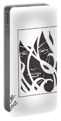 Portable Battery Charger featuring the drawing The Unkown Woman by Jeremiah Colley