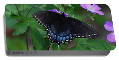 Tiger Swallowtail Female Dark Form On Wild Geranium Portable Battery Charger by Daniel Reed