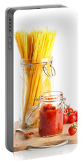 Tomatoes Sauce And  Spaghetti Pasta  Portable Battery Charger by Amanda Elwell