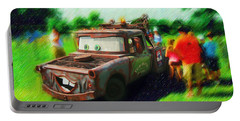 Portable Battery Charger featuring the photograph Tow Mater Live by Mario Carini