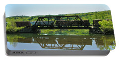 Portable Battery Charger featuring the photograph Train And Trestle by Sherman Perry