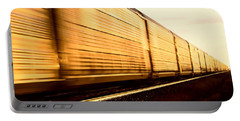Train At Sunset Portable Battery Charger