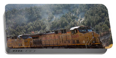 Train In Spanish Fork Canyon Portable Battery Charger by Pamela Walrath