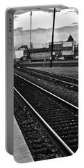 Portable Battery Charger featuring the photograph train tracks - Black and White by Bill Owen