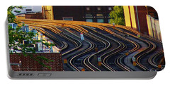 Train Tracks Portable Battery Charger by Bruce Bley