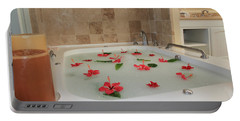 Tub Of Hibiscus Portable Battery Charger