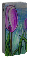 Tulips In The Mist Portable Battery Charger by Mick Anderson