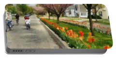 Tulips On The Boulevard Holland Michigan Portable Battery Charger