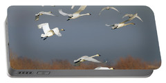 Tundra Swan Takeoff Portable Battery Charger by Mike  Dawson