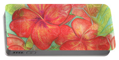 Portable Battery Charger featuring the painting Two Hibiscus Blossoms by Carla Parris