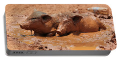 Two Pigs In A Puddle Portable Battery Charger by Nola Lee Kelsey