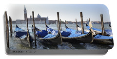 Portable Battery Charger featuring the photograph Venice Gondolas by Rebecca Margraf
