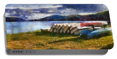 Portable Battery Charger featuring the painting View Of The Lake From Camp Dorset by Mario Carini