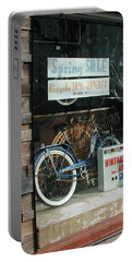 Vintage Bicycle And American Junk  Portable Battery Charger by Anna Ruzsan