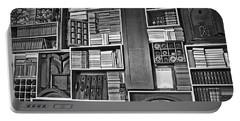 Vintage Bookcase Art Prints Portable Battery Charger