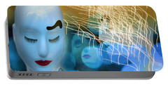Portable Battery Charger featuring the digital art Virginal Shyness by Rosa Cobos