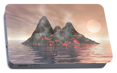 Portable Battery Charger featuring the digital art Volcano Island by Phil Perkins