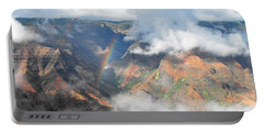 Waimea Canyon Rainbow Portable Battery Charger by Rebecca Margraf