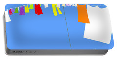 Portable Battery Charger featuring the digital art Washing Line Simplified Edition by Barbara Moignard