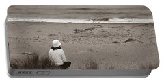 Watching The Ocean In Black And White Portable Battery Charger