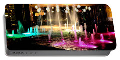 Water Fountain With Stars And Blue Green With Pink Lights Portable Battery Charger