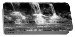 Waterfall Trio At Mcconnells Mill State Park In Black And White Portable Battery Charger