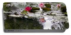 Portable Battery Charger featuring the digital art Waterlilies by Victoria Harrington