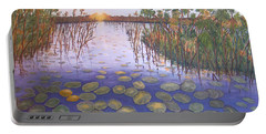Portable Battery Charger featuring the painting Waterlillies South Africa by Karen Zuk Rosenblatt
