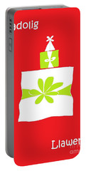 Portable Battery Charger featuring the digital art Welsh Merry Christmas Red by Barbara Moignard