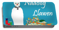 Portable Battery Charger featuring the digital art Welsh Snowman Chef by Barbara Moignard