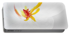Portable Battery Charger featuring the painting White Flower by Kume Bryant
