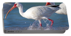 White Ibis On The Shore Portable Battery Charger