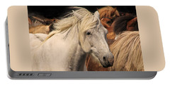 White Icelandic Horse Portable Battery Charger