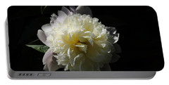 White On Black Peony Portable Battery Charger