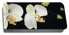White Orchids Portable Battery Charger