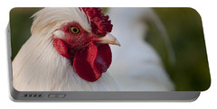 White Rooster Portable Battery Charger by Michelle Wrighton