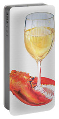 White Wine And Lobster Claw Portable Battery Charger