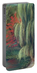 Portable Battery Charger featuring the drawing Willow Tree - Hidden Lake Gardens -tipton Michigan by Yoshiko Mishina
