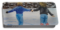 Portable Battery Charger featuring the painting Winter Fun by Norm Starks