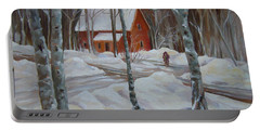 Winter In The Woods Portable Battery Charger by Nancy Griswold